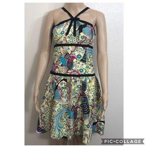 Tabitha 100% Silk Fit Flare Bird Floral Dres